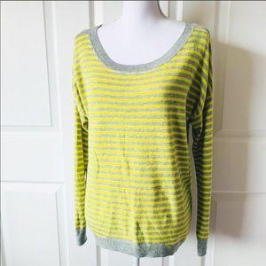 Gap Gray Yellow Striped Knit Sweater